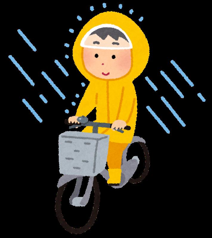 レインスーツで自転車に乗る人